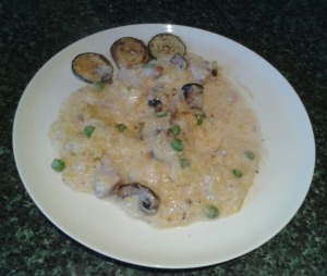 Turkey and mushroom risotto on plate 566